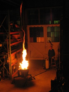 While never having performed on the Black Rock, Kevin Binkert's fire tornado was the prototype for many such art devices to be debuted at BM.
